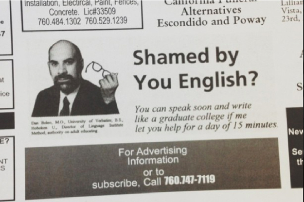 Very badly written advert for English lessons
